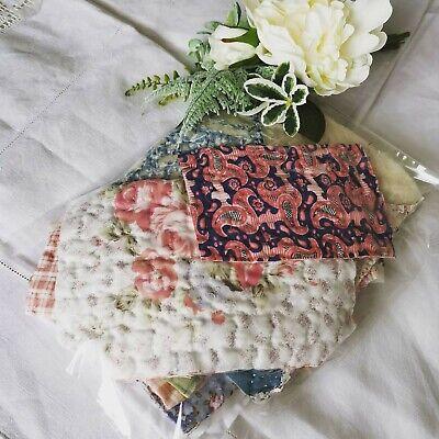 Hand Dyed Vintage Fabric Antique Quilt Durham Slow Stitch Patchwork Craft Pack 5
