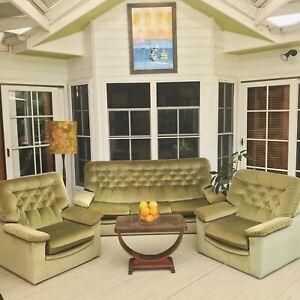 70's Green Velvet Mid-Century Lounge Suite