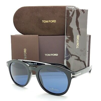 New Tom Ford Newman sunglasses FT0515/S 01V 53mm Black Silver Blue (Tom Ford Newman)