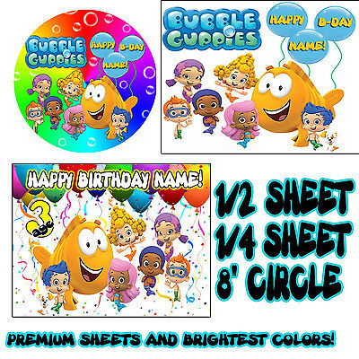 BUBBLE GUPPIES Sugar Edible Birthday CAKE topper image FROSTING SHEET guppys - Bubble Guppies Cake Toppers