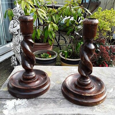 VINTAGE PAIR OF WOODEN CANDLESTICKS