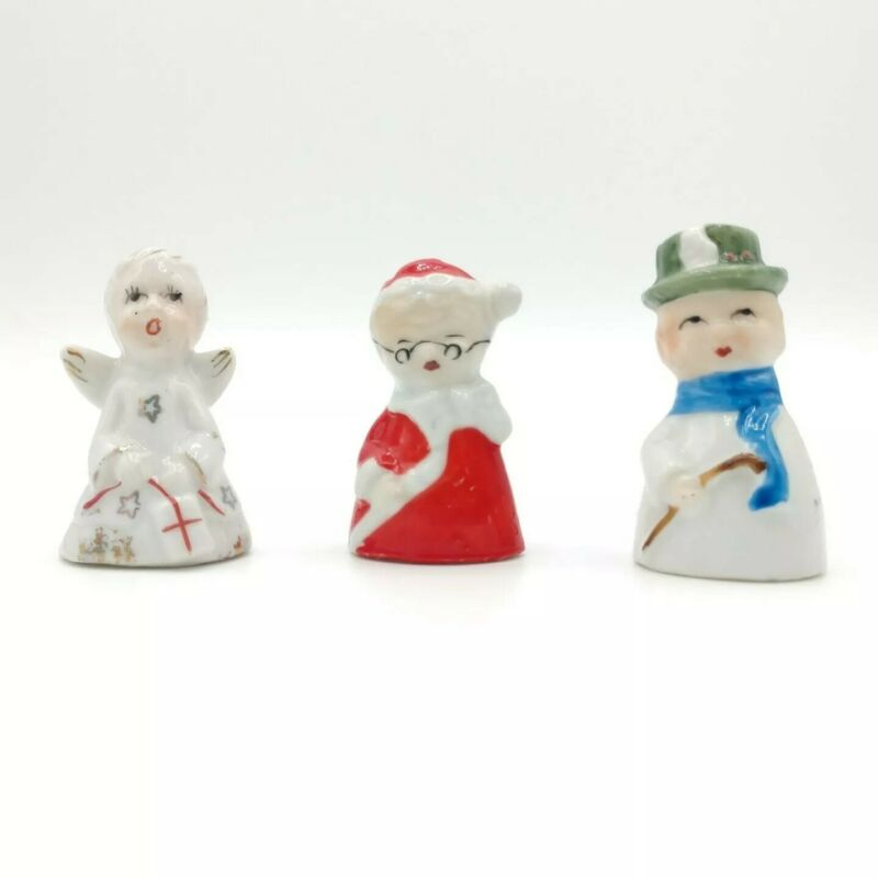 "3 Vintage 2"" Porcelain Christmas Ornament Figure Angel Mrs Claus Gentleman Japan"