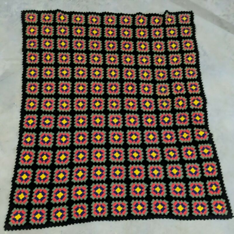 "Handmade Granny Black Square Afghan Throw Blanket 61"" × 54"" Roseanne Multicolor"