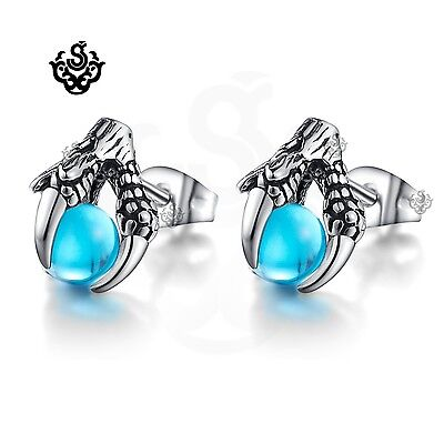 Silver stud sky blue cz ball dragon claw earrings soft gothic vintage style