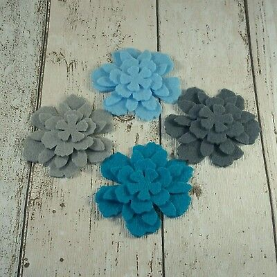 16 felt Flowers Turquoise Teal Grey Shades die cut  applique & layering cards