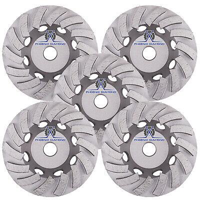 5pck 7turbo Diamond Grinding Cup Wheel For Concrete 24 Segs-78-58 Nonthreaded