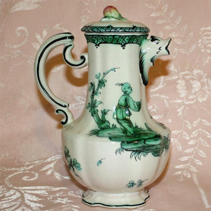 Antique French Faience Veuve Perrin Pot With Lid, Chinoiserie, Gargoyle Spout