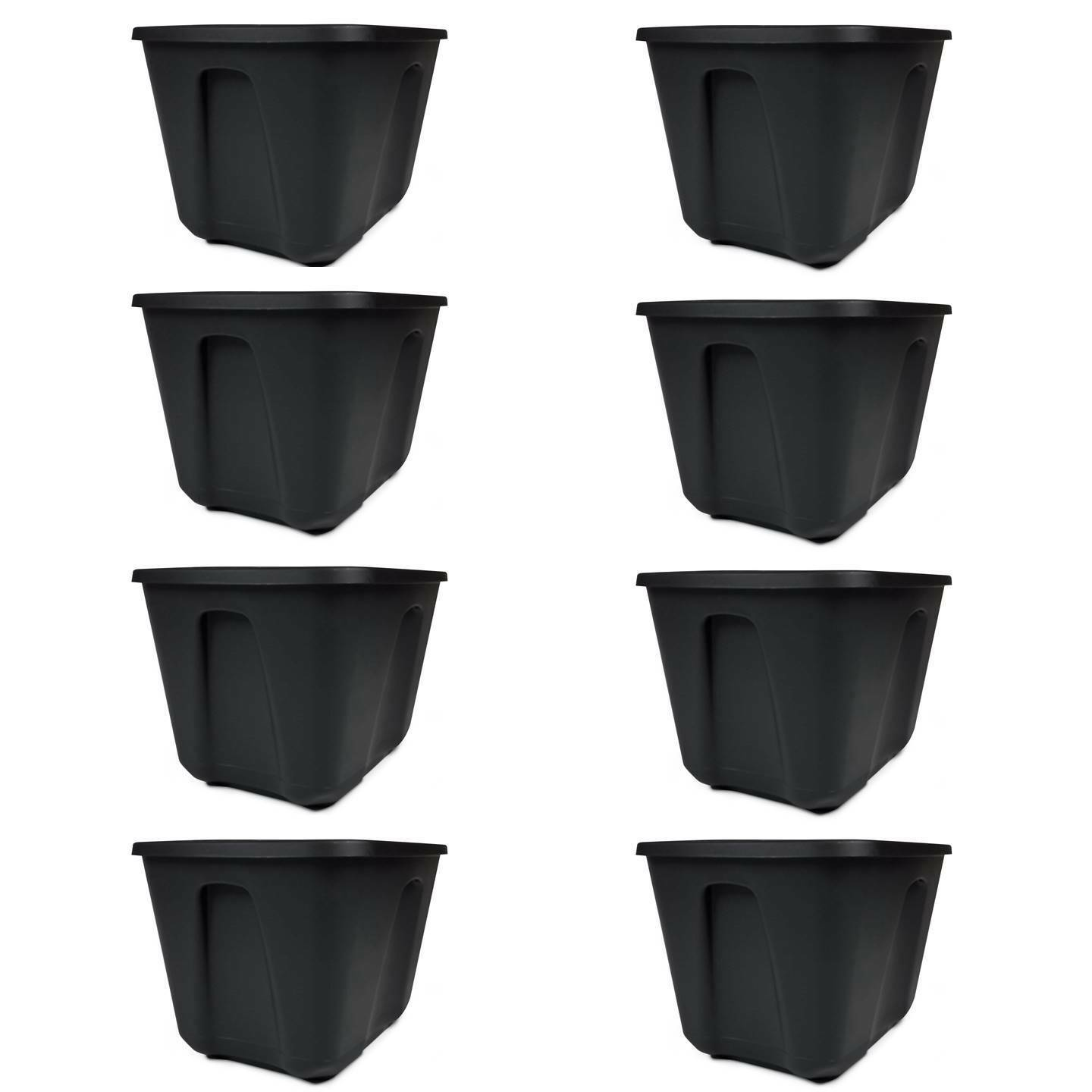 Set of 8 Storage Containers 18- Gallon Lid Snaps Durable Pla