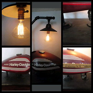 STEAM PUNK Light made from vintage Harley Davidson gas tank
