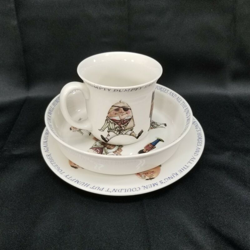 Porcelain Queens Humpty Dumpty Nursery Rhyme Childs Plate Bowl Cup Set Vintage