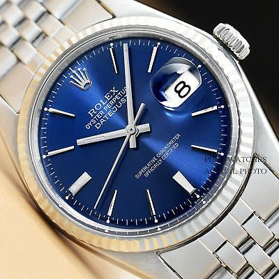 ROLEX MENS BLUE DIAL DATEJUST 18K WHITE GOLD & STAINLESS STEEL WATCH