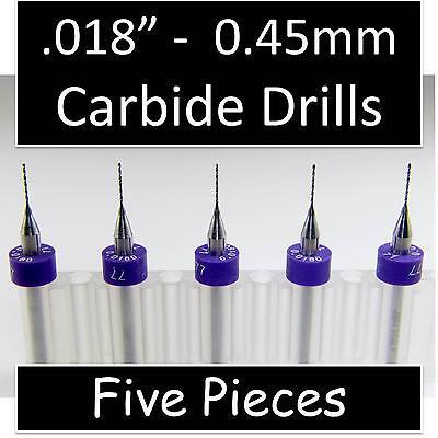 .018 0.45mm 77 - Five Carbide Drill Bits - Wood Metal Plastic Aluminum Cnc Rs