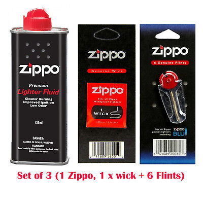 Zippo Lighter Fuel Fluid 125ml Petrol 1 X Wick+6 x Flints- Free & Fast Delivery
