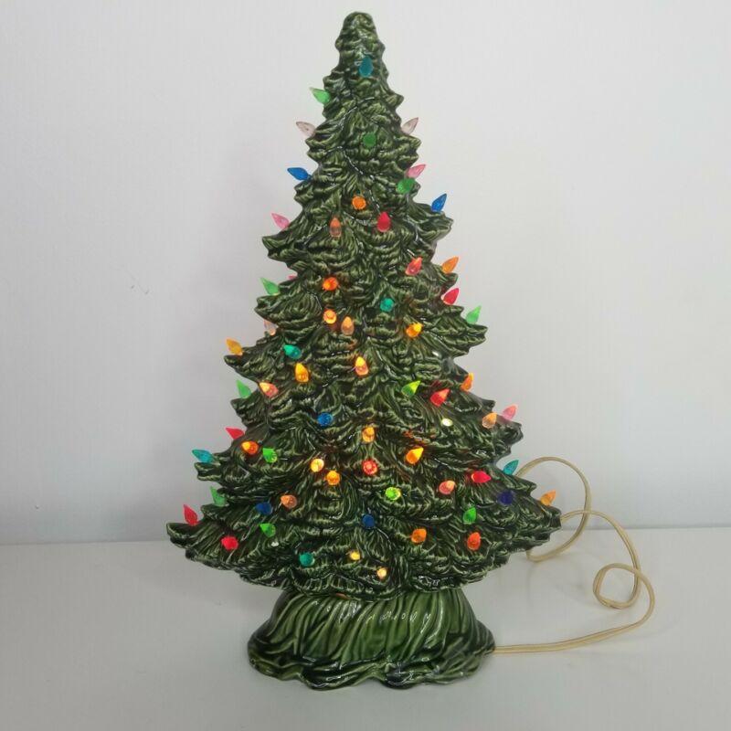 """Vtg Ceramic Christmas Tree 14"""" Tall Tampa Bay Mold Co 1987 Narrow Oval"""