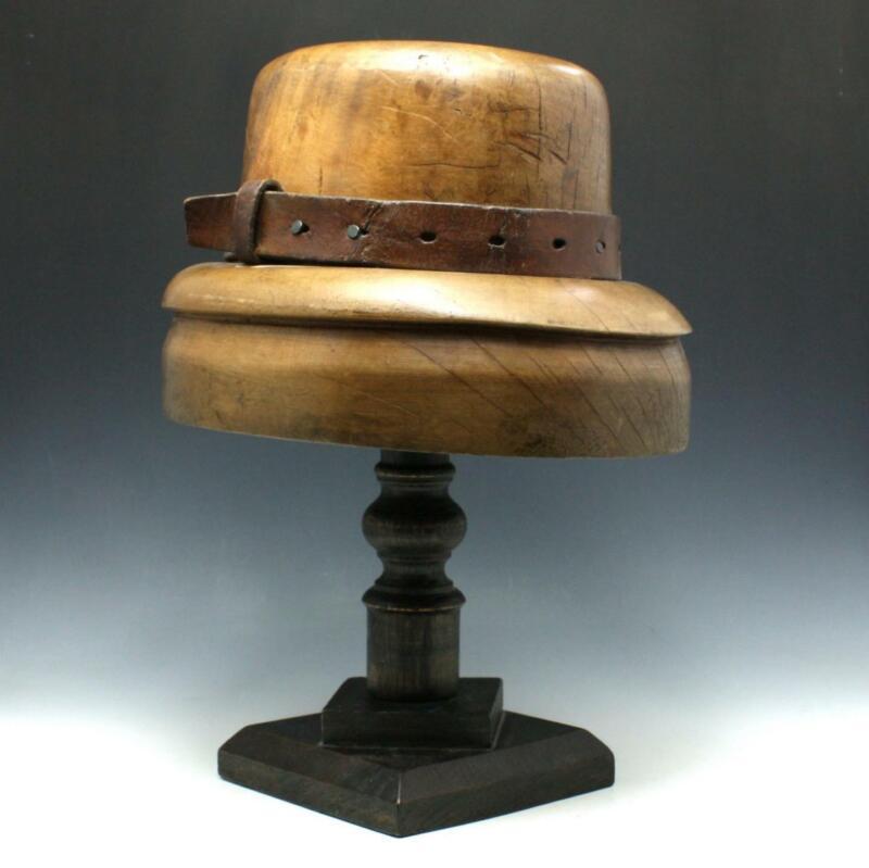 Antique Millinery Wood Brim Hat Mold Block Form w/ Custom Display Stand
