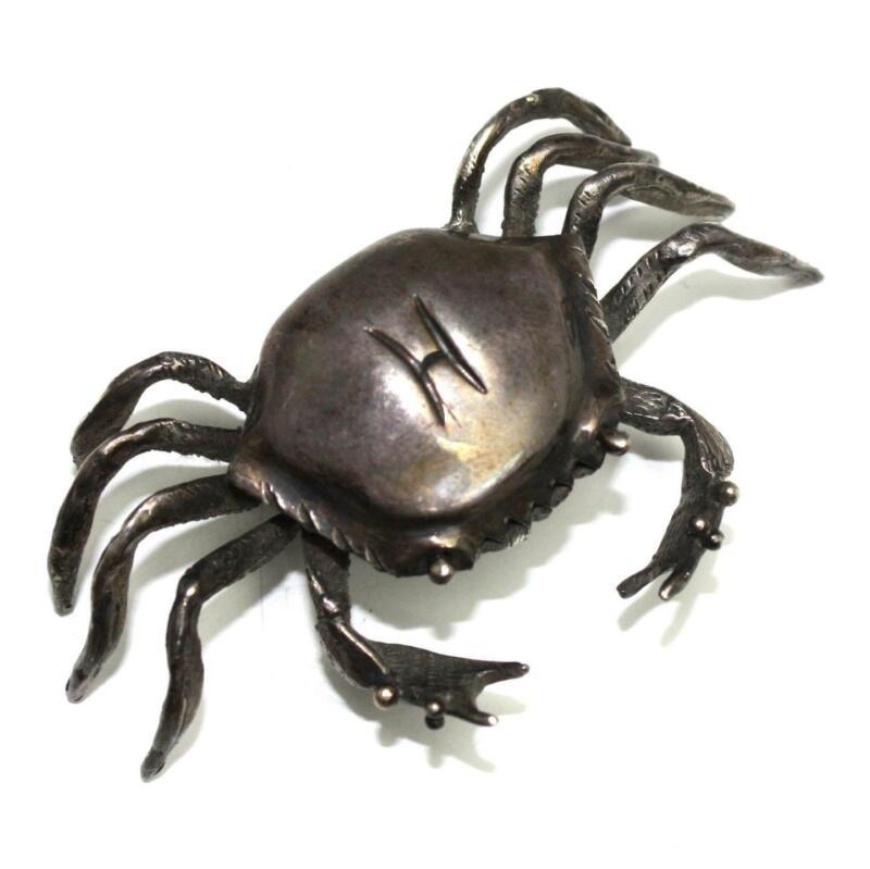 Vintage Hallmarked Solid Sterling Silver Blue Crab Mini Miniature Figurine