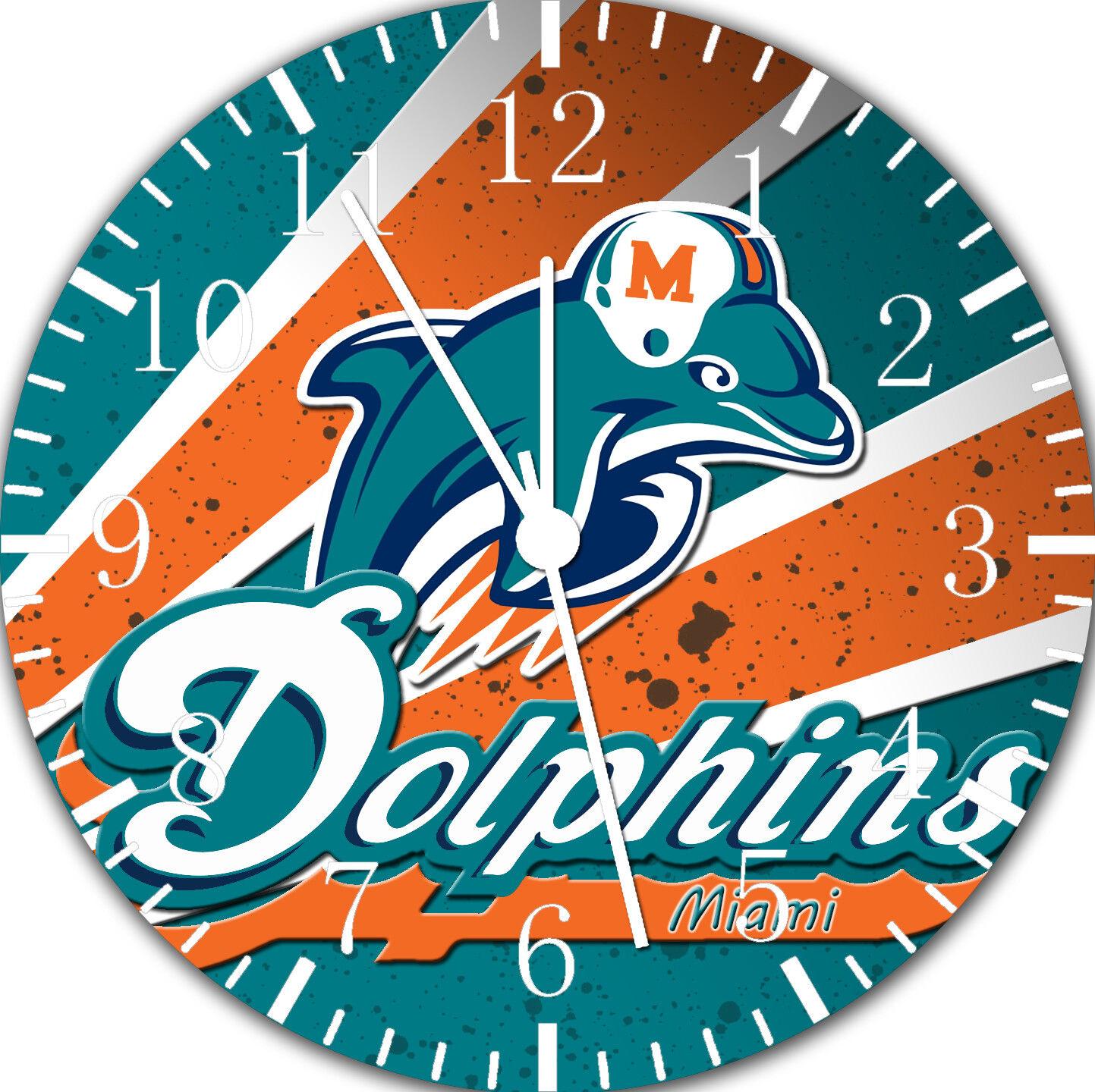 Miami Dolphins Frameless ohne Grenzen Wanduhr für Geschenke oder Wohndeko E439