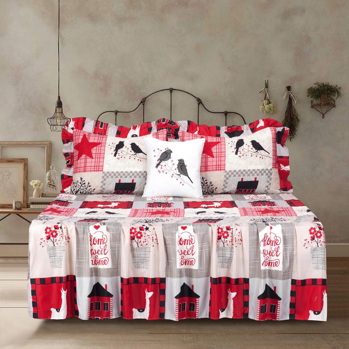 Twin Full Queen or King Quilt Patchwork Bedspread Bedding Set Red Brown Beige Bedding