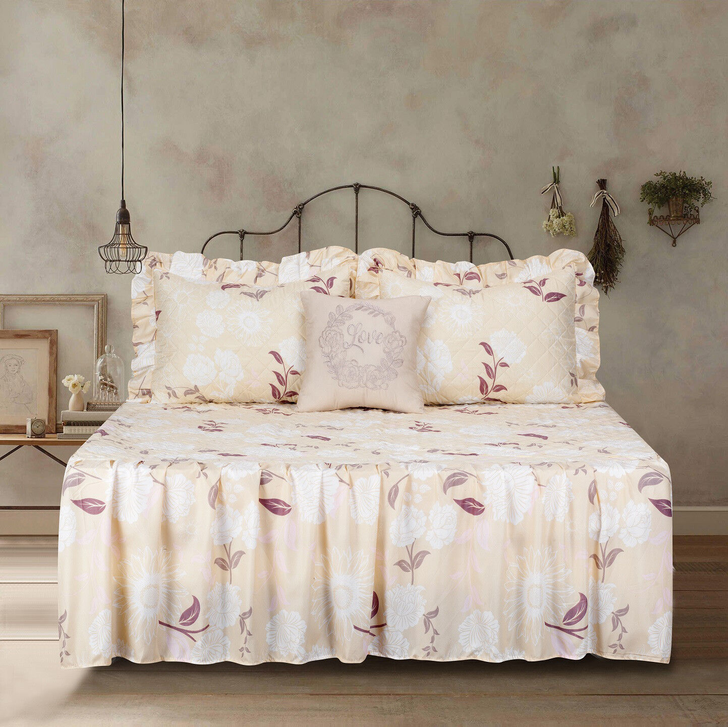 Twin Full Queen or King Quilt Floral Flowers Ruffle Bedspread Bedding Set Bedding