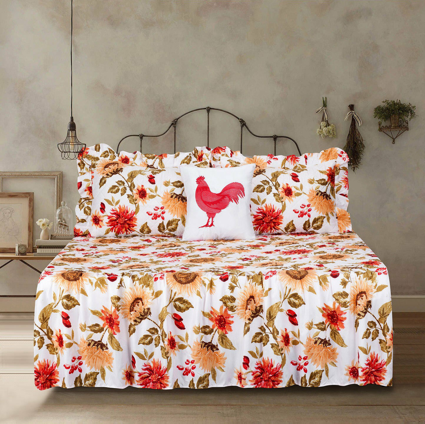 Twin Full Queen or King Quilt Sunflower Bedspread Bedding Set Floral Yellow Bedding