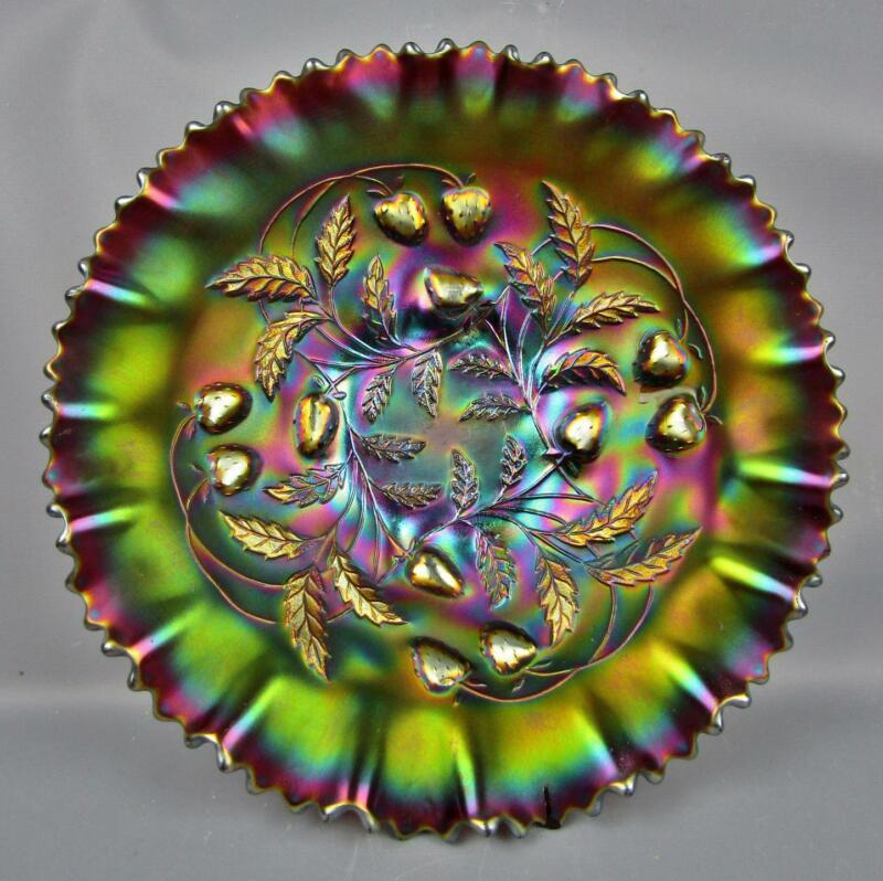 "Northwood STRAWBERRY Amethyst Carnival Glass 9"" Pie Crust Edge Shelfer Bowl F059"