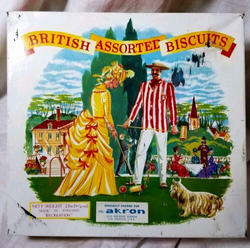 1950 British  Biscuit Tin Made In England For The Akron Store Village Scene