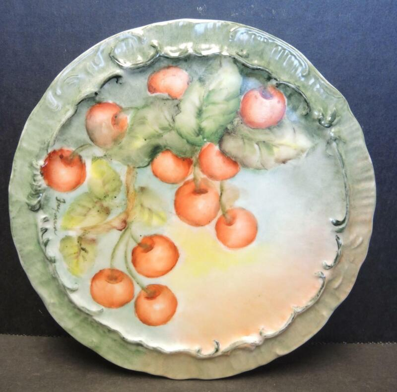 "Artist Signed Antique Hand Painted Porcelain 6 1/2"" Trivet - Cherries"