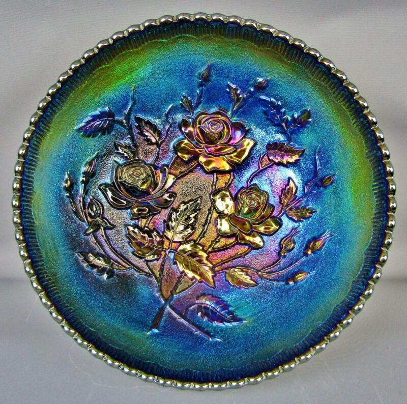 "Imperial OPEN ROSE Splendid Purple Carnival Glass 9"" Round Bowl 7815"