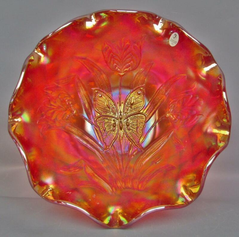 "C087 Fenton BUTTERFLY & TULIP Ruby Amberina Carnival Glass 12"" Ruffled Bowl"