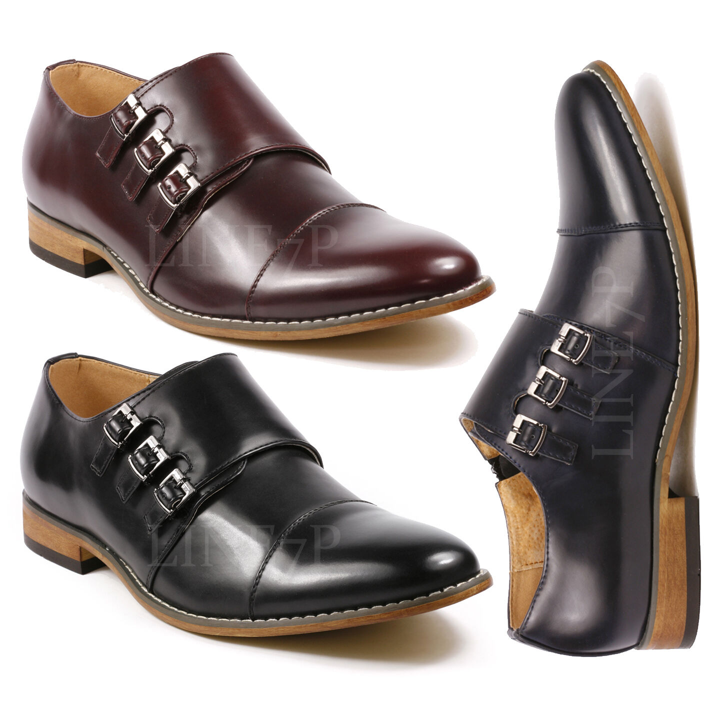 Men's Triple Monk Strap Cap Toe Slip On Loafers Dress Shoes