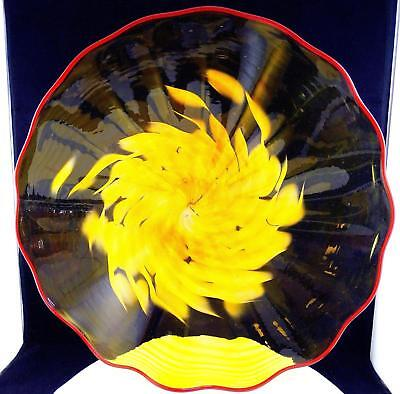 CRAIG DERBY SIGNED ART GLASS AMBER & YELLOW FLOWER LARGE 18 3/8