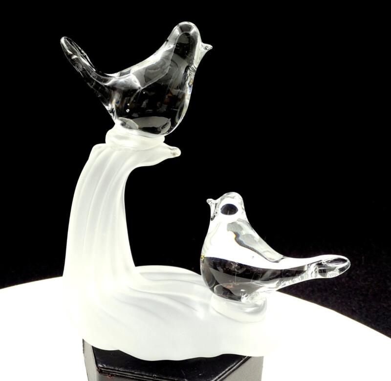 "MURANO ITALY ART GLASS CLEAR LOVE BIRDS ON FROSTED BASE 6"" FIGURINE"