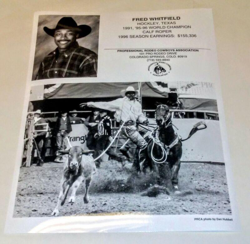 PRO RODEO COWBOYS 1996 FRED WHITFIELD PROMO PHOTO CALF ROPER BLACK AMERICANA
