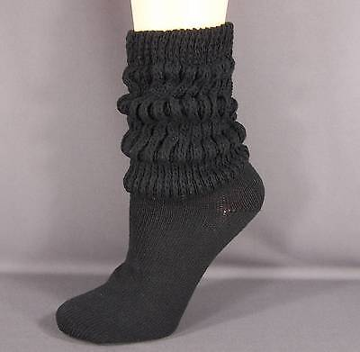 Black thick heavy cotton slouch slouchy scrunch womens ladies boot socks 9-11 - Slouch Socks