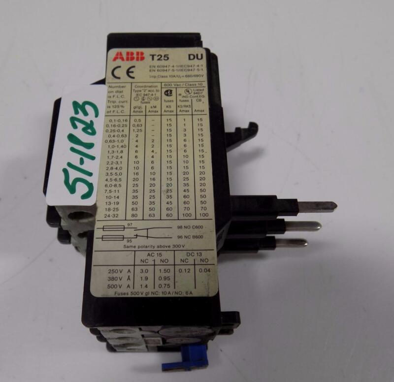 ABB THERMAL OVERLOAD RELAY T25 DU