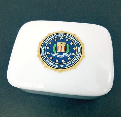 "FEDERAL BUREAU OF INVESTIGATION FBI CERAMIC TRINKET BOX 3"""