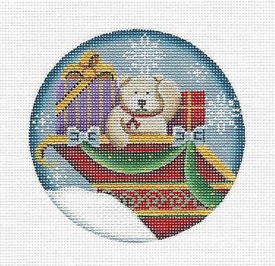 *2019* Adorable Teddy Bear in Sleigh handpainted Needlepoint Canvas Rebecca Wood - Adorable Teddy Bear