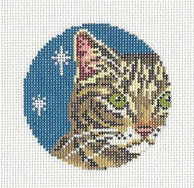 Tabby Cat Face (Chocolate Tabby Cat Face handpainted Needlepoint Ornament by Needle Crossings)