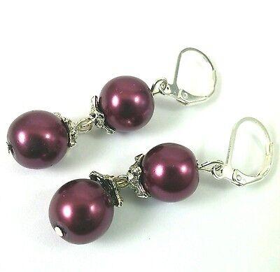 Burgundy red glass pearl earrings drop ball dangle leverback hook silver (Burgundy Red Glass Ball)