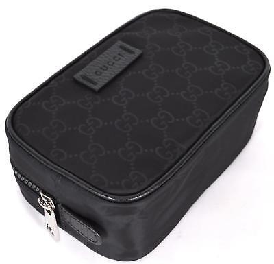 New Gucci Men's 510341 Black Nylon GG Guccissima Small Toiletry Dopp Bag
