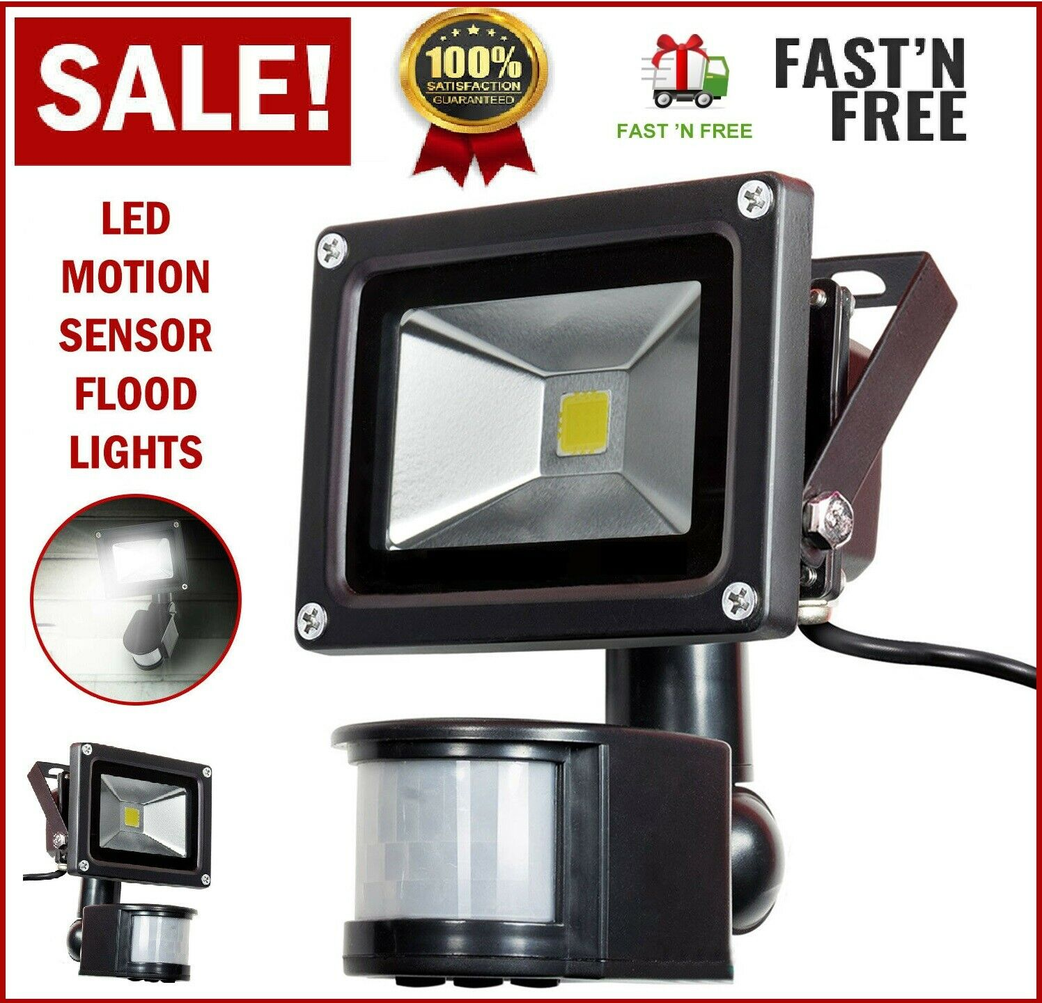 Motion Sensor Flood Light Waterproof Outdoor Security Light
