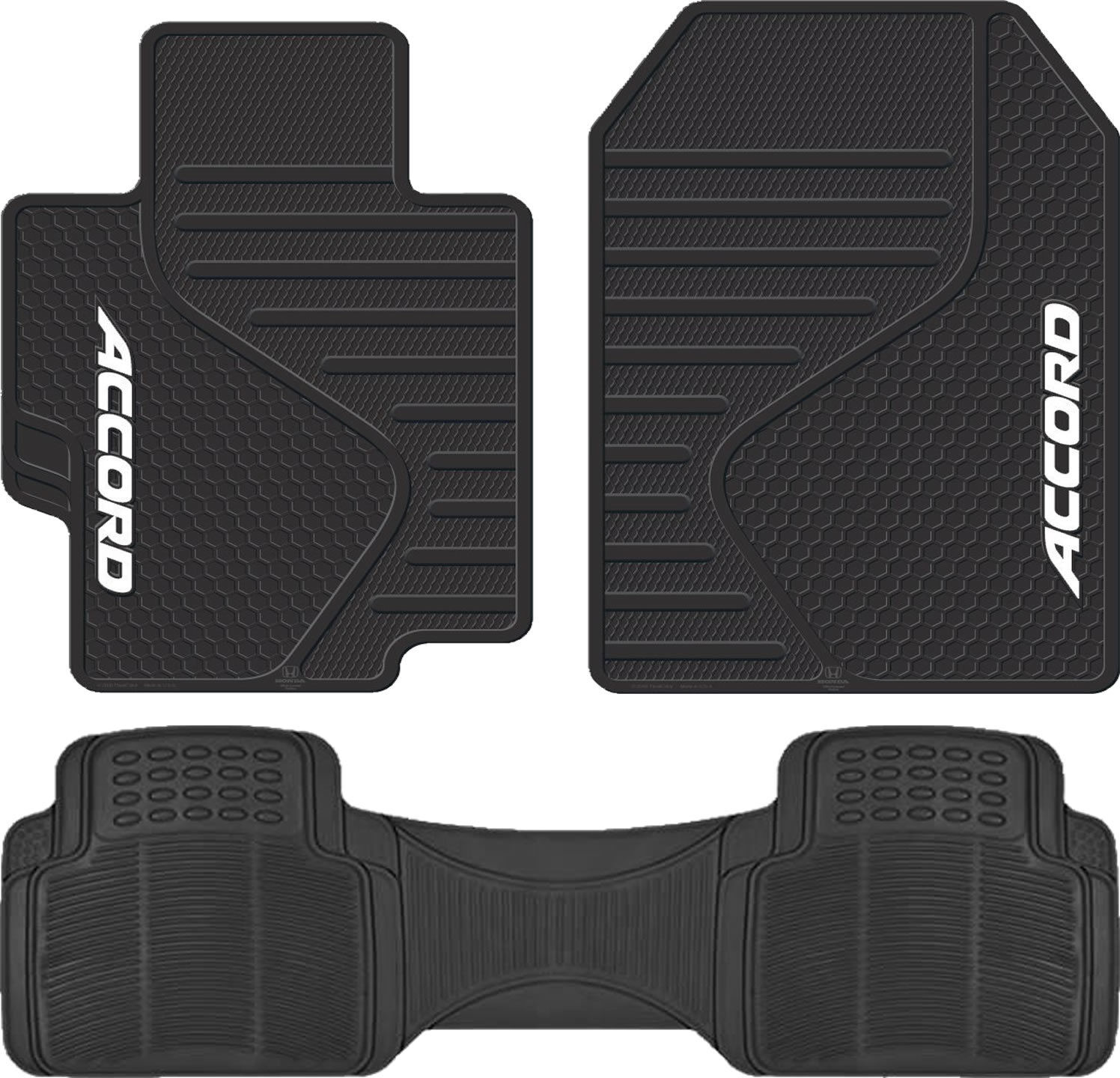 Universal Black Front Rubber Floor Mats All Weather Runner Mat for Honda Accord