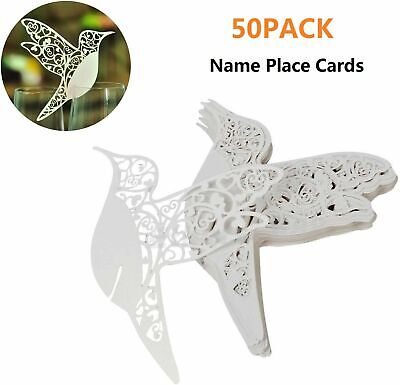 Place Cards For Wedding (50x Birds Wedding Name Place Cards For Wine Glass Laser Cut On Pearlescent)