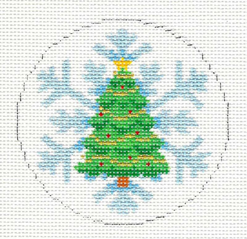Christmas Tree on Snowflake handpainted Needlepoint Ornament by Susan Roberts