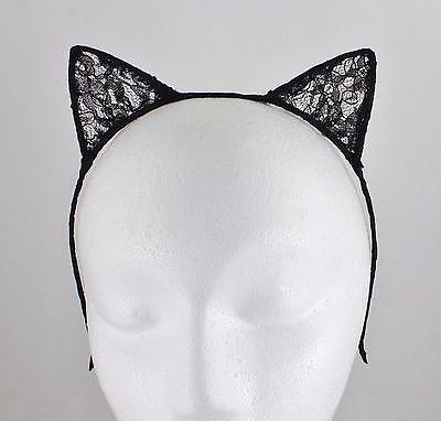 Black lace cat kitten ears headband hair band accessory kawaii cosplay costume - Black Lace Cat Ears