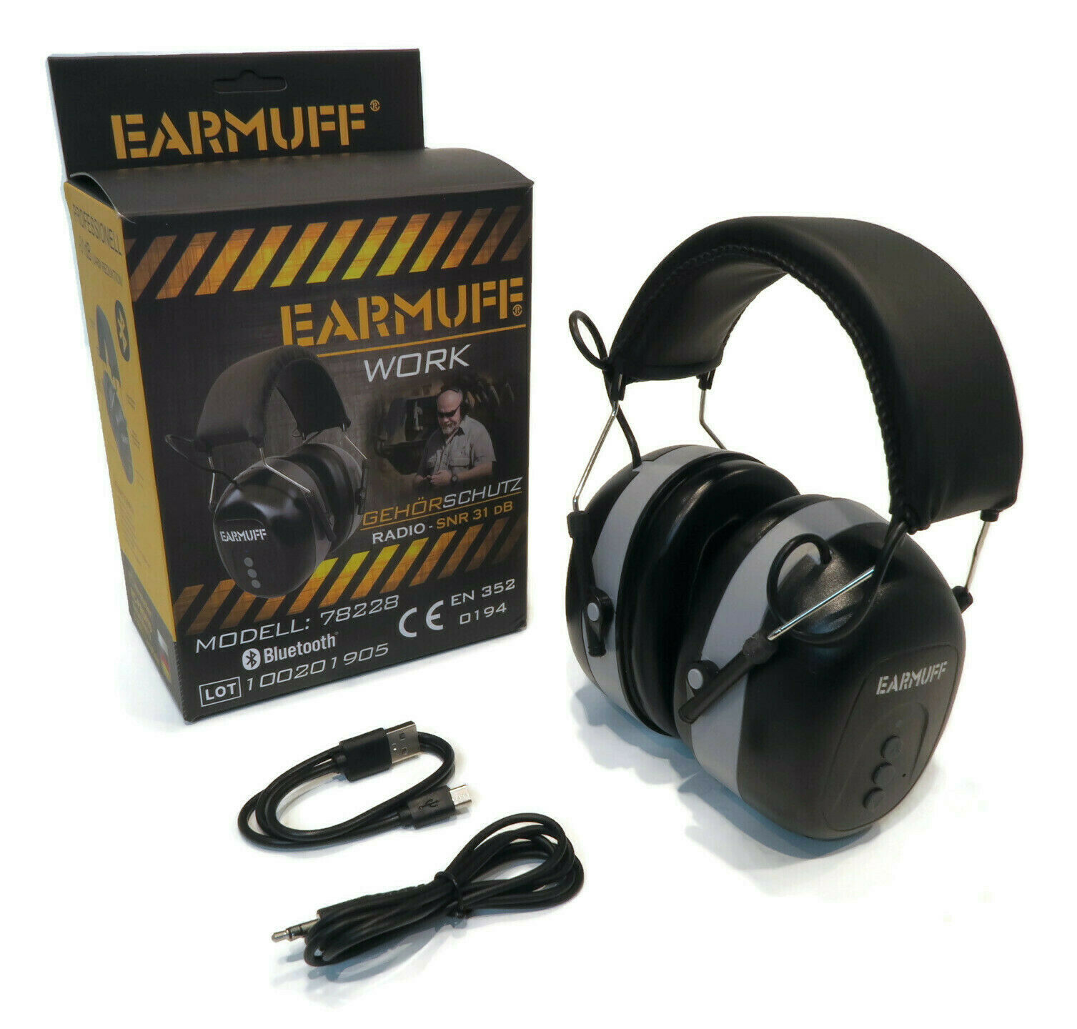 Earmuff Black Wireless Headset 31db With Bluetooth For Work Amp Construction Site