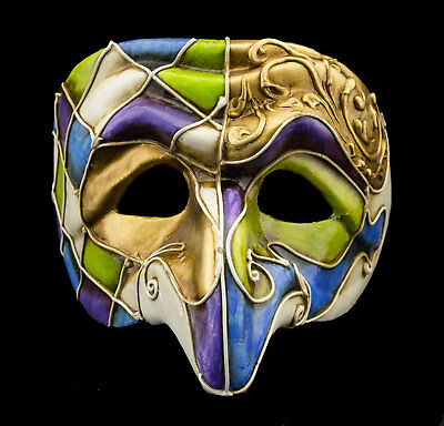 Mask from Venice Polichinelle Blue Purple Green Golden Nose Paper Mache Luxury