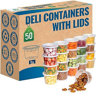 [50 set] 16 oz Heavy Duty Deli Food/Soup Plastic Containers w/ Lids and Airtight