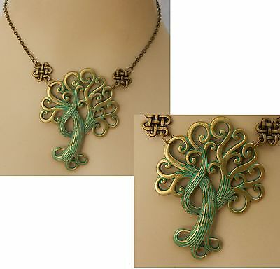 Gold & Green Celtic Tree of Life Pendant Necklace Handmade Adjustable Fashion