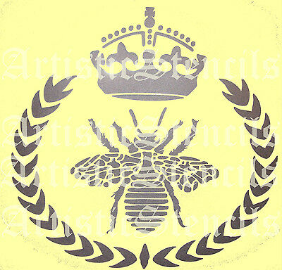 STENCIL French Queen Bee Wreath with Royal Crown  10x10